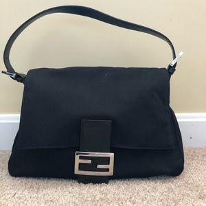 FENDI  Mama Neoprene Shoulder Bag, Black, EUC